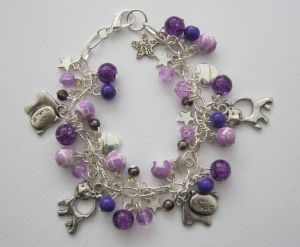 Purple Cats Bead & Charm Bracelet